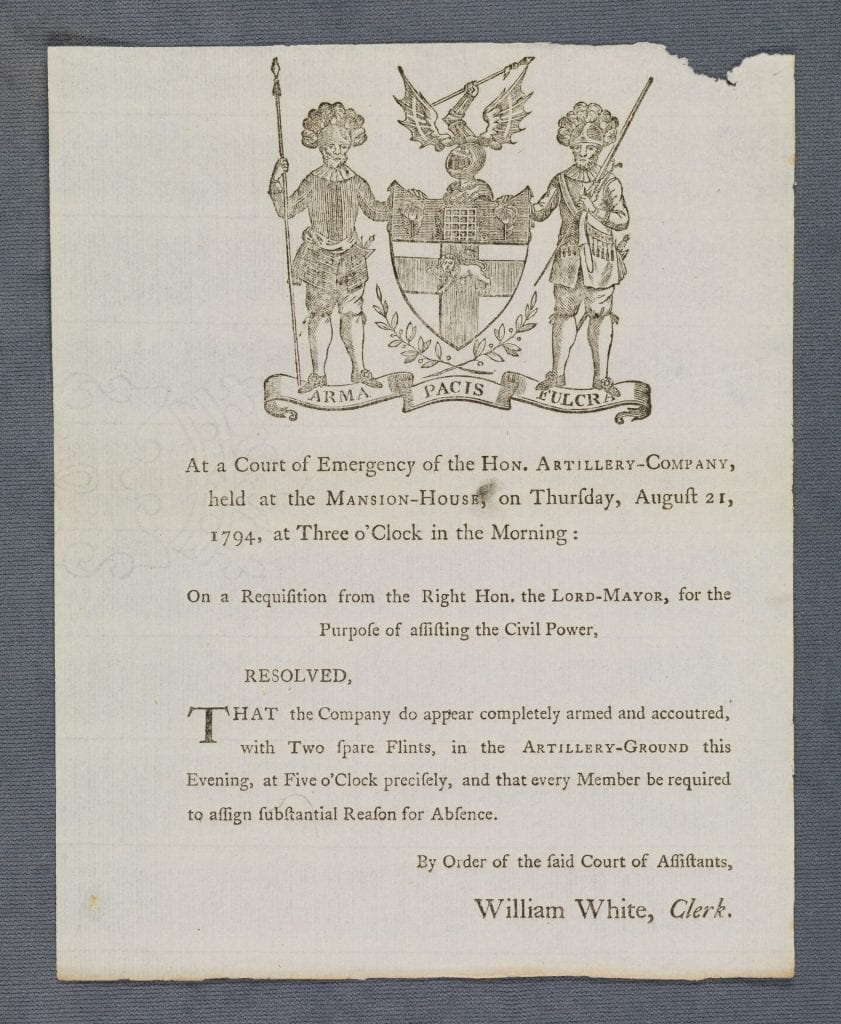 At a court of emergency of the Hon. Artillery-Company...