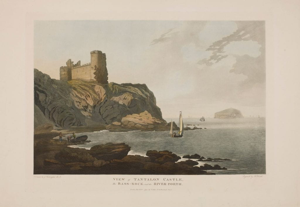 View of Tantalon Castle, the Bass-Rock and the River Forth