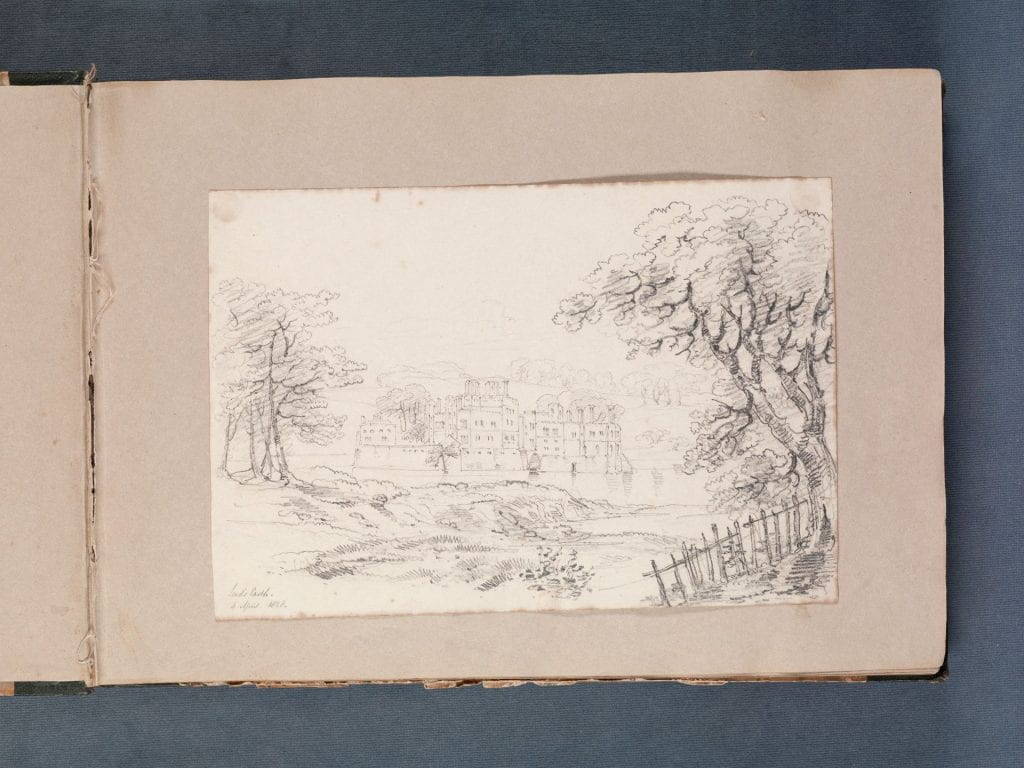 pencil sketch of a country estate