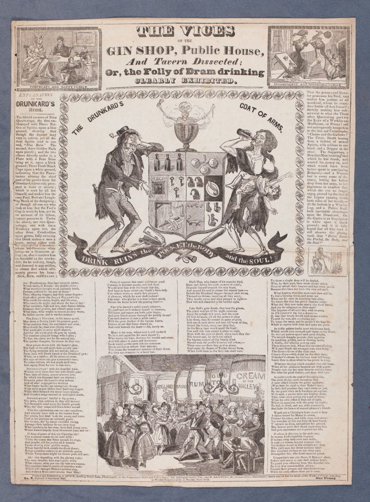 """""""Broadside with five wood-engravings, the largest in the centre showing the drunkard's coat of arms.""""--British Museum online catalogue."""