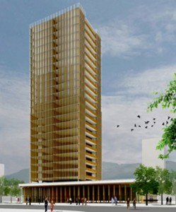 "In Vancouver, architect Michael Green has proposed a 30-story wooden skyscraper, called ""Tall Wood."" (Image via MG Architecture)"