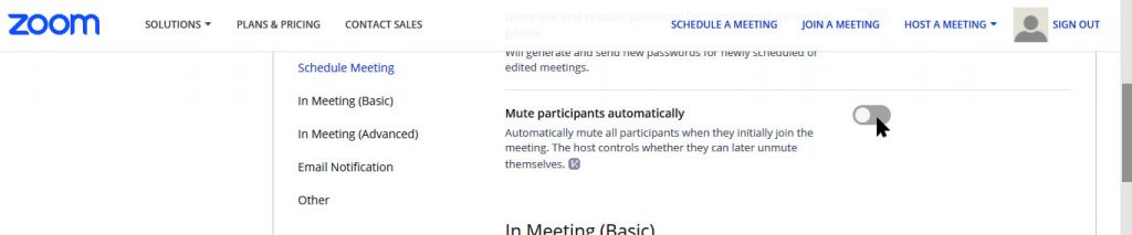 Host's Meeting Options to allow participants to enter a meeting muted.