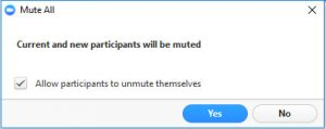 Dialog Box for allowing participants to unmute themselves should they need to speak later in the meeting.