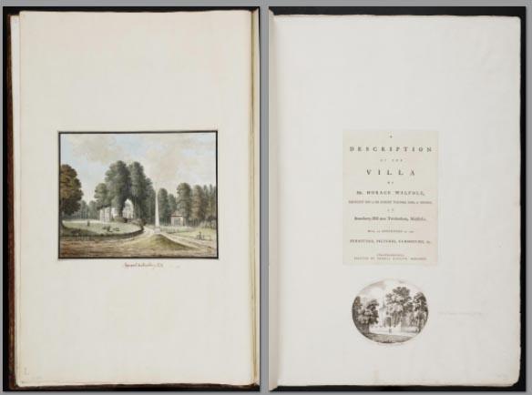 print of the Walpole Italian Villa from Walpole's extra-illustrated Book