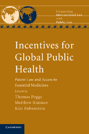 "Book Cover of ""Incentives for Global Public Health: Patent Law and Access to Essential Medicines"""