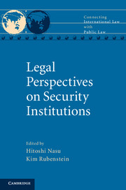 "Book Cover of ""Legal Perspectives on Security Institutions"""
