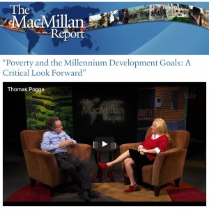 "Prof. Pogge discusses the book ""Poverty and the Millennium Development Goals: a Critical Look Forward"" with Marilyn Wilkes on MacMillan Report episode February 24, 2016."