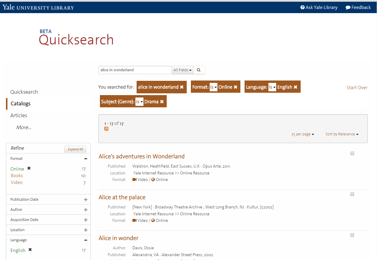 Quicksearch beta screenshot