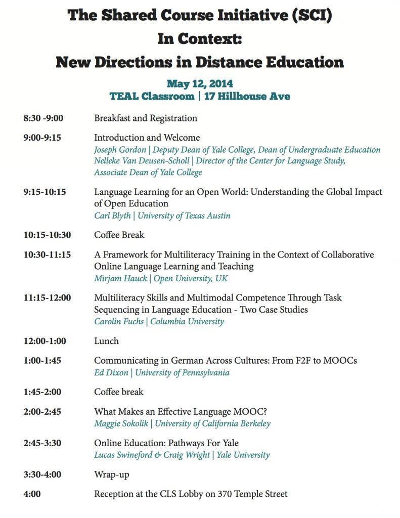 SCI Symposium Schedule