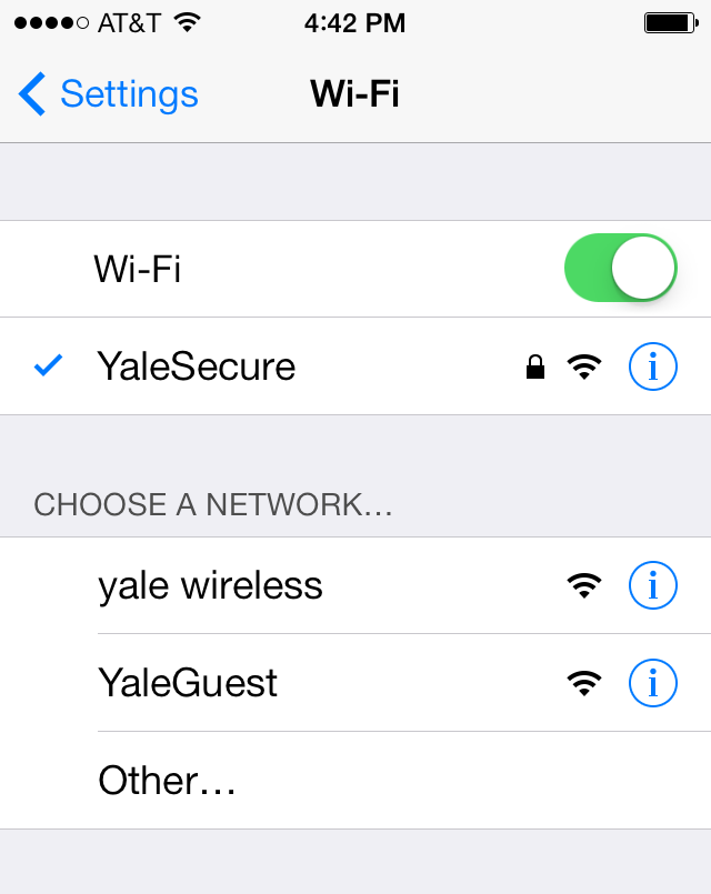 YaleSecure Network