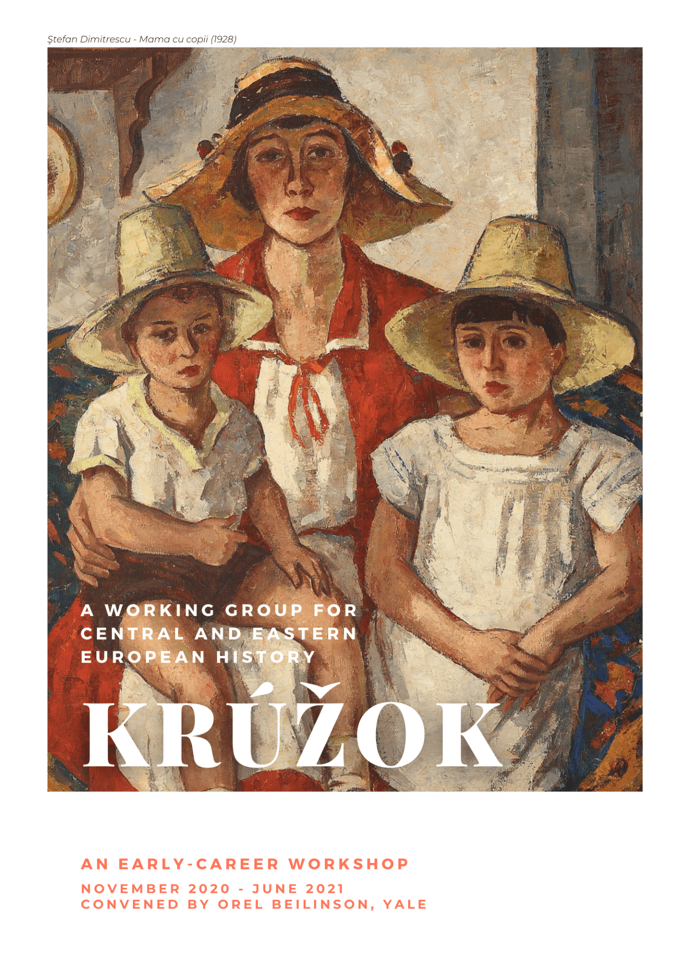 The cover of the workshop's program, featuring Ştefan Dimitrescu's painting Mama cu copii (1928).