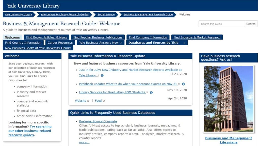 Screencapture of Business & Management Research Guide (LibGuide)