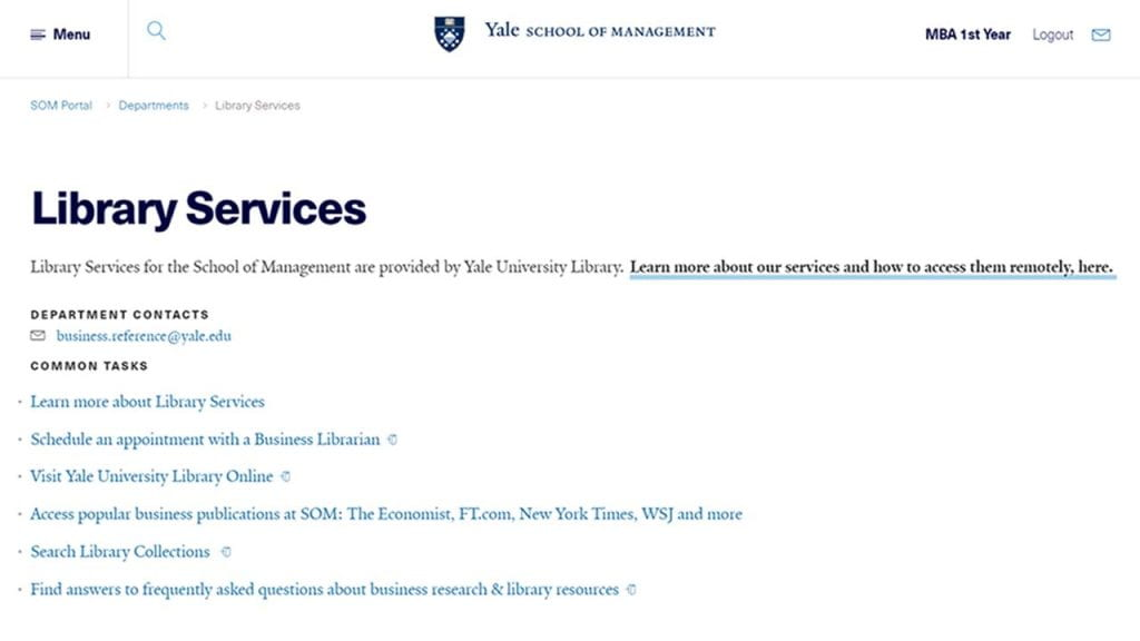 """Screencapture of the """"Library Services"""" page in the School of Management's Portal (intranet)."""