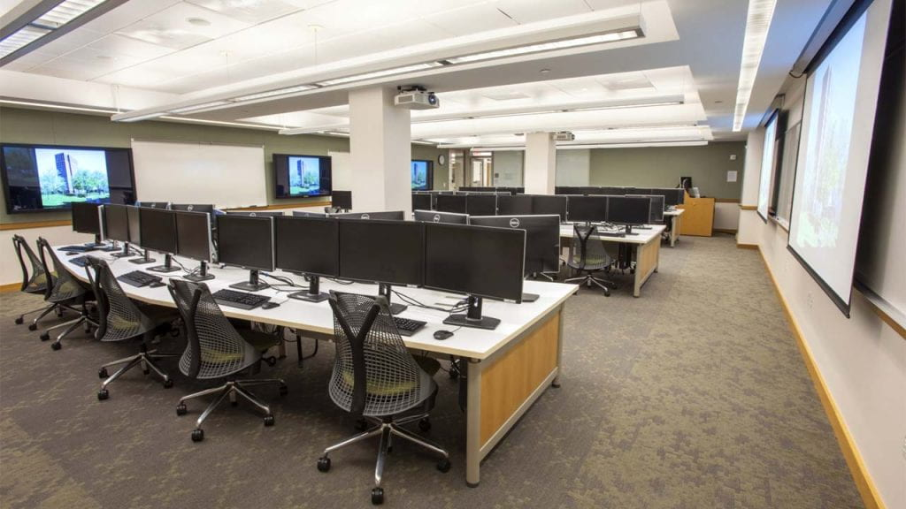 Photograph of computer classroom in the Marx Library