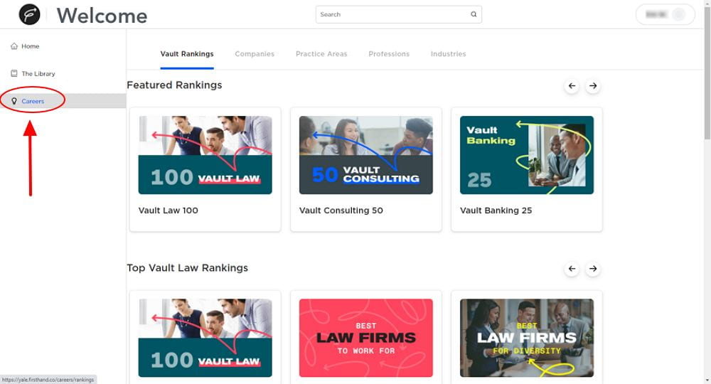 Firsthand screen capture featuring Vault company rankings