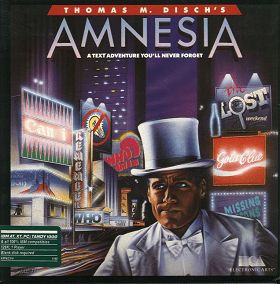 Cover of the original Amensia video game. Man in white tuxedo with confused expression stands in front of bright city background of billboards and shops.
