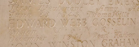 Alum names inscribed on the walls of Woosley Hall
