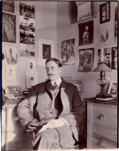 Shepherd Stevens in his room at 5 rue Palatine, Paris, France, winter 1904-05