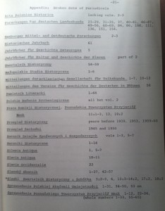 Partial List of Broken Sets of Periodicals for Medieval East Central Europe, 1969.