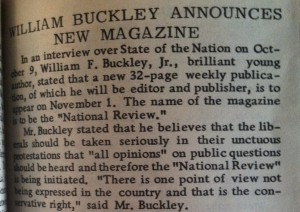 Announcement of William F. Buckley's _National Review_ in the first issue of _Right_.