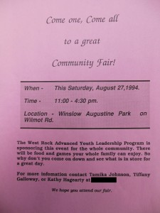 Flier for the community fair.