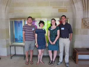 Student Research at Yale University Library student exhibit curators at the reception in Sterling Memorial Library: Andrew Cordova, History, Silliman College '15; Caroline Sydney, Humanities, Silliman College '16; Miranda Melcher, Political Science, Branford College '16; and Scott Stern, American Studies, Branford College '15.