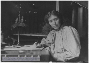 Rose Pastor Stokes (1879-1933), political activist and author, at her desk in her New York City apartment.