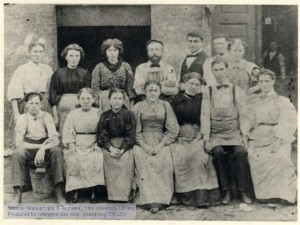 Workers at Gleichmans Cigar Factory in Cleveland. Rose H. Pastor is in back row, third from left.
