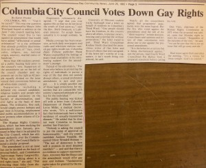 An example of the atmosphere of discrimination against the gay men and lesbian communities. From the <title>Gay Community News</title>, June 26, 1982.