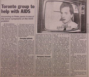 A newspaper article announcing the start of the AIDS Committee of Toronto.