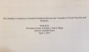 "Title page of Sarah Kim's senior essay, ""Of a Healthy Constitution,"" 3 April 2017"