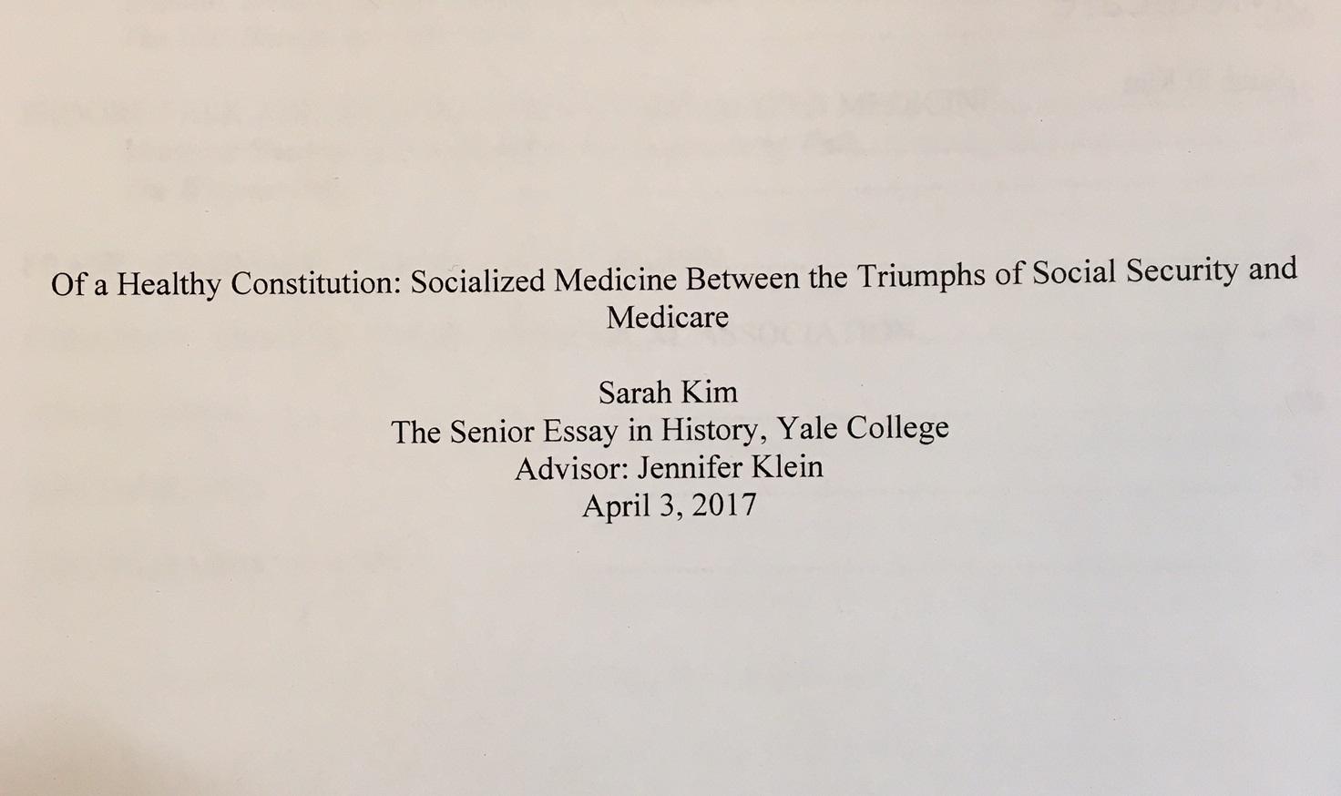 Essay socialized medicine america