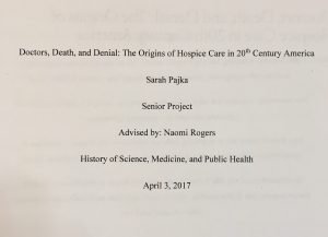 "Title page of Sarah Pajka's senior essay, ""Doctors, Death, and Denial,"" 3 April 2017"