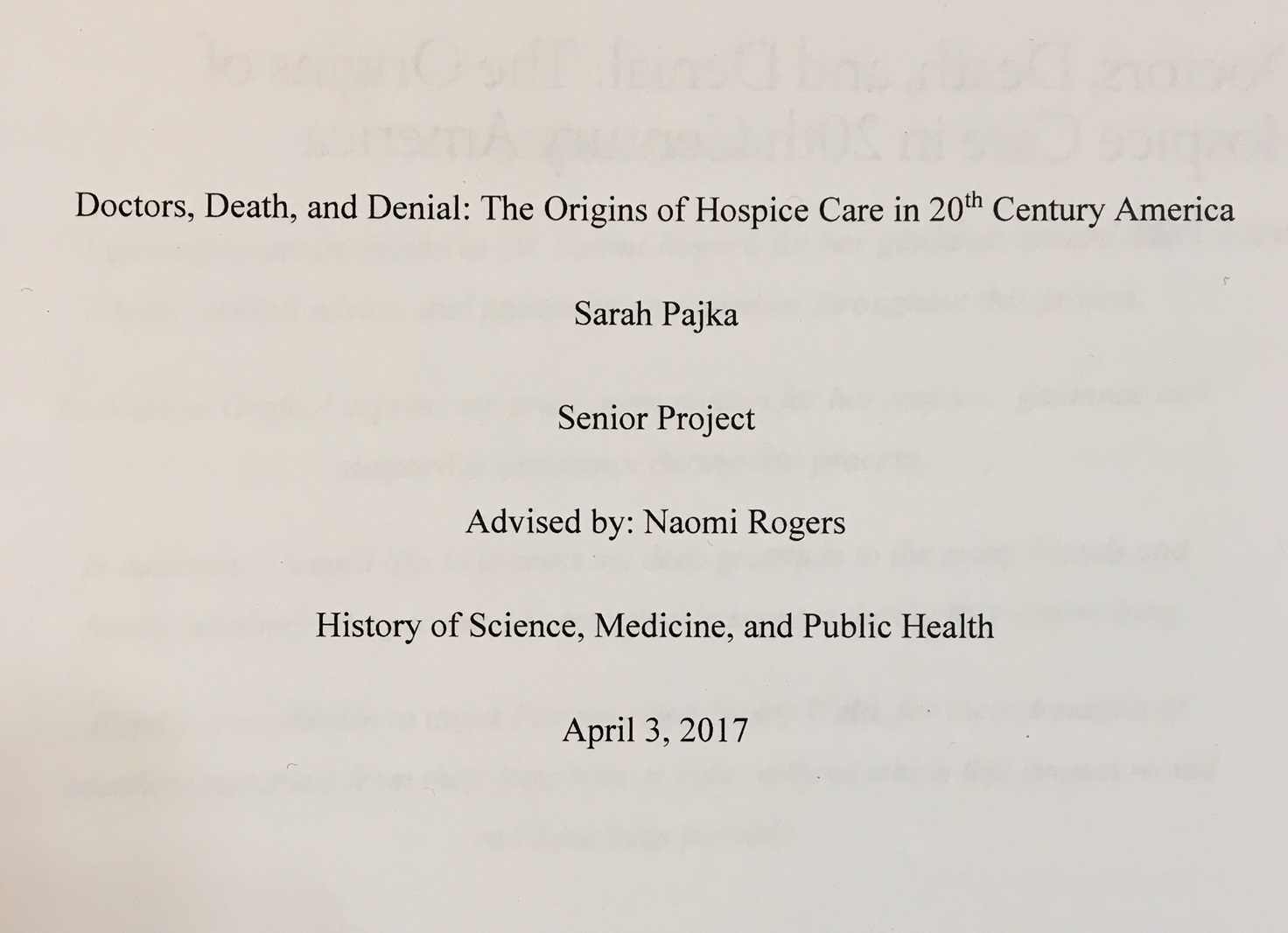 winners of the manuscripts and archives diane kaplan memorial  title page of sarah pajka s senior essay doctors death and denial