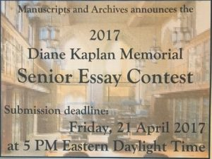 Poster for 2017 senior essay contest
