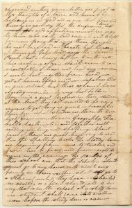 Letter from Henry Obookiah, sent from Cornwall, Connecticut, to Samuel Wells, Jr. of Greenfield, Massachusetts, dated 16 June 1817, page 2. Gustave R. Sattig Collection (MS 1429), Box 1, folder 17. Manuscripts and Archives, Yale University Library.