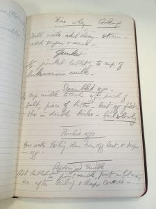 Recipes to prepare for injured soldiers, part of Riggs's training for the Yale Mobile Hospital Unit, 1917. Thomas Lawrason Riggs Papers (MS 704), Box 1, Folder 9. Manuscripts and Archives, Yale University Library.