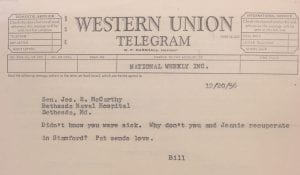Telegram from William F. Buckley, Jr. to Senator Joseph R. McCarthy, 20 December 1956