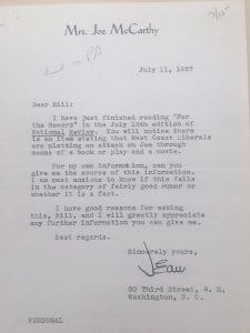 Letter from Jean McCarthy to William F. Buckley, Jr., 11 July 1957