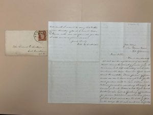 Image of William Henry Anderson letter to his father, 1858 January 9. (MS 2018, Box 1, folder 5).