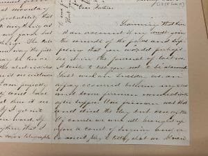 Image of Letter from William Henry Anderson to his father, 9 February 1858 (MS 2018, Box 1, folder 6).