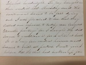 Image of excerpt from letter from William Henry Anderson to his father following his trial, 6 March 1858 (MS 2018, Box 1, folder 9).