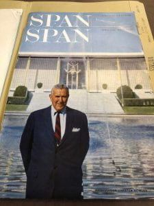 U.S. Ambassador Chester Bowles at the American Embassy in New Delhi, India, cover of Span magazine, Volume VIII, number 4 (April 1967). Chester Bowles Papers (MS 628), Box 341, Folder 327.