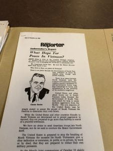 "Chester Bowles, ""What Hope for Peace in Vietnam?"", American Reporter, issue of December 21, 1966, reprint. Chester Bowles Papers (MS 628), Box 341, Folder 342."