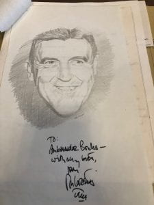 Don Corsetti, autographed pencil sketch of Chester Bowles, accompanying letter dated 22 July 1966. Chester Bowles Papers (MS 628), Box 328, Folder 47.