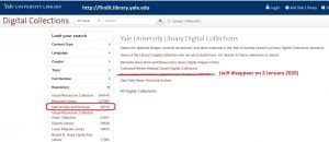 Screen capture of main Yale Library Digital Collections page (FindIt)