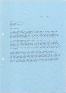 Page 1 of Brewster's June 26, 1985 letter to Barry Bingham regarding his Oxford master position.