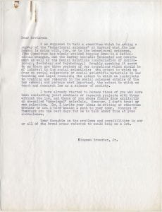 "Letter from Brewster to his colleagues regarding a survey of the ""behavioural sciences"" at Harvard University."