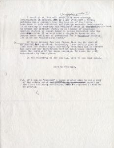 Page 2 of a letter from Brewster to A. Whitney Griswold regarding Griswold's thoughts on the liberal arts.
