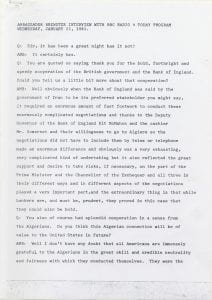 Page 1 of a BBC Radio 4 Today interview with Brewster regarding the release of United States diplomats and citizens from the United States Embassy in Tehran, Iran.